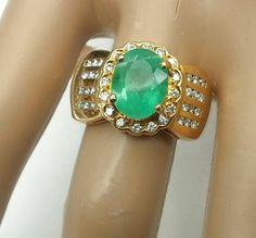 2.40 cttw. Emerald & Diamond 18k Gold Ring *** Colombian Emerald & Diamonds Ring