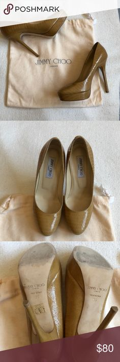 """EUC JIMMY CHOO LIZARD PRINT SAND PUMPS 👠 EUC JIMMY CHOO LIZARD PRINT SAND PUMPS   Let's keep it real. There is NO outfit a pair of Jimmy Choo's cannot handle   •Creamy leather lining  •Padded insole  •Leather sole  Only worn 2x • please note ☝🏽 box lists size 9 (EU 39) but these shoes run small so it fits size 8 perfectly (which I listed)•• 🦎 print taupe • classic and timeless • 5"""" heel 🔥 listed at this price as I am seriously downsizing my closet 🙈  •• OPEN TO OFFERS 🙌🏽  ••• Bundle…"""
