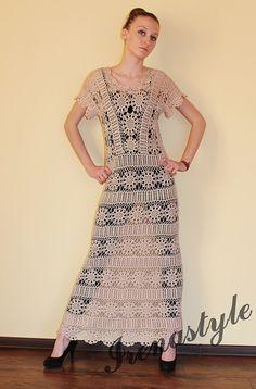 FEITO PARA PEDIR Crochet Vestido feito sob medida, feitas à mão, crochê - algodão
