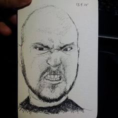 This guy seems sort of unhappy about the whole siituation... #drawing #reddit #sketch #portrait #pen #ballpoint #twitter #study #sketch #egg #teeth #grimace
