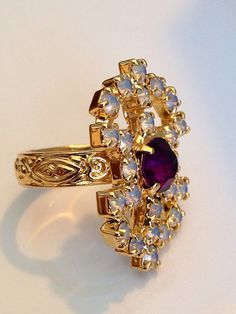 Vintage Sarah Coventry Amethyst and Moonstone Cocktail Ring    This is a stunning vintage cocktail ring. The gemstones sparkle so brilliantly!