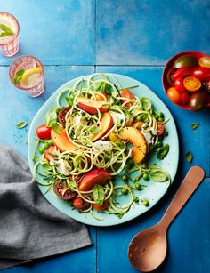 Summer garden salad with peaches and mozzarella - A quick and easy courgetti dinner for two