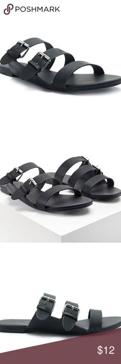 Strappy Vegan Leather Sandals NWT. A pair of faux leather slip-on sandals featuring genuine leather lining, a strappy design with dual adjustable buckle straps, and an open toe. Padded insole, textured outsole. Shell: 100% polyurethane. Lining: 100% leather. Outsole: 100% rubber. Size 7. Straps are adjustable to customize fit. Forever 21 Shoes Sandals