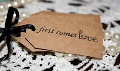 Wedding Favor Tags  First Comes Love  Bridal by Booksonblocks, $3.95