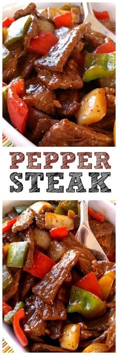 Pepper Steak! Super easy recipe with sauteed steak strips peppers and onions. PERFECT over rice!