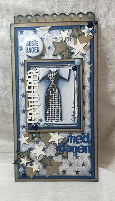 Lene'S Stempelkrok: DT Papirdesign- Et tagkort Men's Cards, Paper Cards, Scrapbook Pages, Scrapbooking, Confirmation Cards, Masculine Cards, Arts And Crafts, Vintage Fashion, Tags