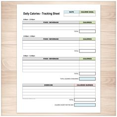 Daily Food Content Tracking Sheet  Printable  Saturated Fat