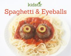 Serve up a scary supper before you head out trick or treating. Make meatballs with olive eyeballs—and serve over spaghetti. Easy Meals For Kids, Dinner Recipes For Kids, Meals For One, Fall Recipes, Kids Meals, Holiday Recipes, Kid Recipes, Halloween Food Dishes, Halloween Treats