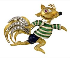 18CT GOLD, ENAMEL, DIAMOND AND RUBY 'SQUIRREL' BROOCH, TIFFANY & CO. The textured gold scurrying squirrel wearing a green and white guilloche enamel long sleeved t-shirt and blue enamel shorts, with ruby-set eye, black enamel nose, his bushy tail accented with rows of brilliant-cut diamonds, signed Tiffany & Co.