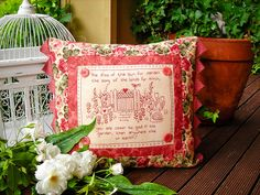 """Kiss of the sun"" by Sally Giblin of The Rivendale Collection. Verse reads: The kiss of the sun for pardon, the song of the birds for mirth, you are closer to god in the garden, than anywhere else on earth! Finished cushion size: 15"" x18"". #TheRivendaleCollection stitchery, appliqué and patchwork patterns. www.therivendalecollection.com.au"
