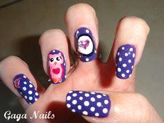 Gaga Nails: Owls in Love Nail Art