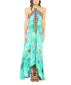 Look at this #zulilyfind! Aqua Green Palm Silk-Blend Three-Way Convertible Maxi Dress by Parides  #zulilyfinds