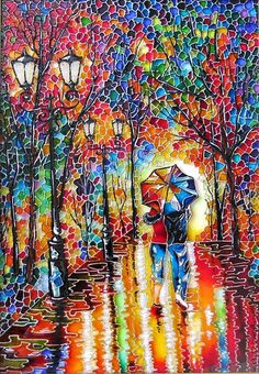 "Stained glass painting ""Two under one umbrella"""