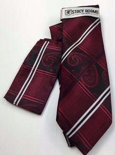Stacy Adams Tie & Hanky Set  Burgundy, Black & White Men's Hand Made #StacyAdams #Tie