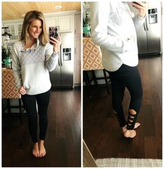 Asymmetrical Pullover + Strappy Leggings // Athleisure Outfit