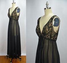 7d0db44ce2f3 1960s Vintage Lucie Ann Sleeveless Black Illusion Lace Gown Black Knit,  Lingerie Collection, Vintage