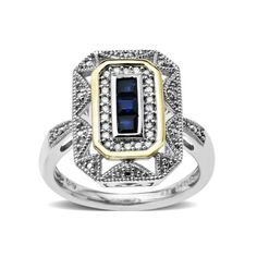 Sterling Silver and 14k Yellow Gold Blue Sapphire Art Deco S