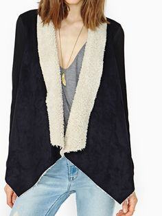 Stylish Chamois Leather Lamb Wool Irregular Design Coats