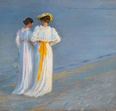 Marie Kroyer and Anna Ancher walking at the beach - painting by Peder Severin Kroyer, Skagen