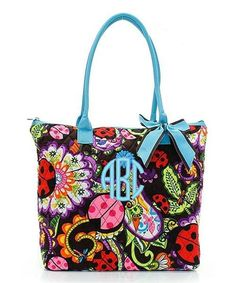 """Personalized Ladybug Turquoise Blue 16"""" Quilted Tote Bag - Gifts Happen Here - 1"""