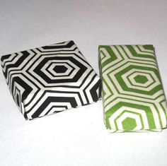 Pair of Origami Boxes in Black and White and Green and White Hexagon Pattern, Square and Rectangle Handmade Fabric Origami Boxes