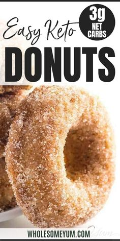 Low Carb Donuts Recipe - Almond Flour Keto Donuts (Paleo Gluten Free) - This low carb donuts recipe with almond flour is easy to make. These keto donuts taste just like regular sugar coated ones with options for paleo donuts too! Low Carb Donut, Low Fat Low Carb, Low Carb Keto, Low Carb Recipes, Healthy Recipes, Protein Recipes, Healthy Tips, Healthy Foods, Healthy Eating