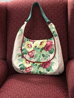 Handmade 1940s barkcloth era faille drapery fabric floral cabbage rose handbag shoulder bag by Linensandlooms on Etsy