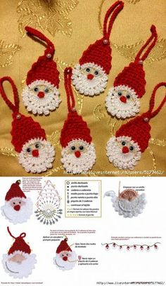 Crochet Сhristmas tree ornaments, Xmas tree decorations, set of New Year decor, wall or decor hanging, white Chat Crochet, Crochet Santa, Crochet Chart, Crochet Motif, Crochet Doilies, Crochet Toys, Diy Crochet, Crochet Snowflake Pattern, Christmas Crochet Patterns
