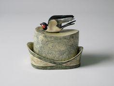 Anna Lambert 25 click now for info. Ceramic Boxes, Glass Ceramic, Ceramic Pottery, Ceramic Butter Dish, Bird Sculpture, Sculptures, Clay Box, Clay Birds, English Pottery