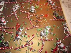 Christmas Foil Gift Wrapping Paper | Vintage Christmas Wrapping Paper N Box Flocked Foil Kaycrest Adorable ...