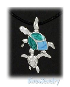 Mother and Baby Sea Turtle Sterling Silver Pendant Necklace. $35.00, via Etsy.