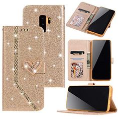 Women Girls Premium Glitter Glossy Leather Wallet Case Diamond Heart Buckle Card Slots Magnetic Wrist Strap Handbag Soft TPU Cover for Samsung Galaxy Note 8 Note 9 Plus Iphone Xs Xr Xsmax 5 6 7 8 Plus Huawei Lite 2017 Lite Mate 20 Galaxy Note 9, Samsung Galaxy Note 8, Galaxy S8, P8 Lite, Diamond Heart, Crystal Rhinestone, Iphone 11, Leather Wallet, Glitter