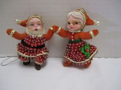 Mid Century Christmas Ornaments Flocked Santa Mrs Claus Sequined Beaded Dancing