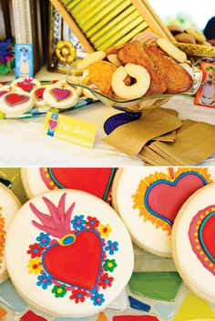Vibrant & Festive Frida Kahlo Inspired Mexican Party- Love the sugar cookie decoration!