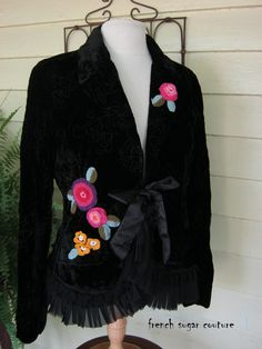 """ON HOLD for Perchy -French Sugar Parisian Embellished """"Le Fleur"""" Black Velvet Jacket - Altered Couture"""