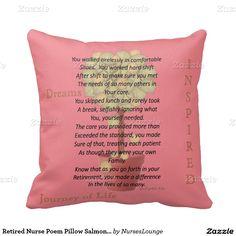 Retired Nurse Poem Pillow Salmon Pink