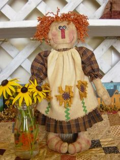 Black Eyed Susan Raggedy Doll Pattern 91 $6.00