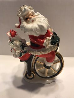 VINTAGE 50s LEFTON SANTA SPAGHETTI TRIM ON BIKE CANDY DISH /PLANTER/VASE CERAMIC | eBay