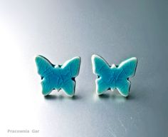 Ceramic earrings, handmade, turquoise butterflies...small jewerly , tiny stics. Ceramic Jewelry, Silicone Molds, Earrings Handmade, Jewerly, Butterflies, Turquoise, Ceramics, Ceramica, Jewlery