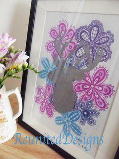 Lace Floral Stag Design Hand drawn onto fabric etsy.com/shop/ReunitedDesigns