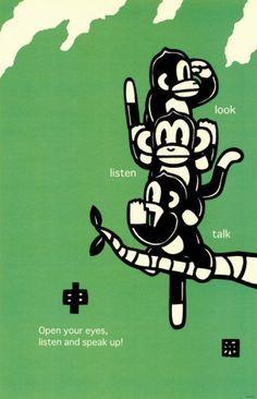 Three Wise Monkeys Masterprint by Ryo Takagi at AllPosters.com