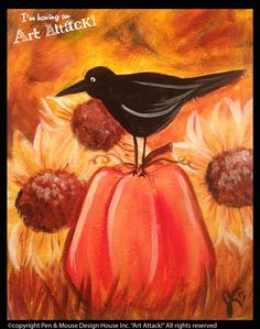 "Art Attack! Paint Party. ""Crow and pumpkin in a sunflower field."""