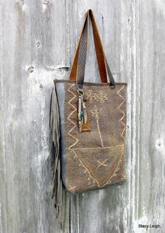 RESERVED for MinceyTribal Carpet Bag from 19th Century Hand Woven Rug by Stacy Leigh Ready to Ship