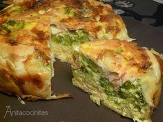 Quiché de salmón, brocoli y queso azul - Receta de sobras