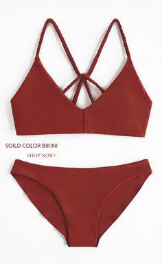 $26.99!Chicnico Cute Red Navy Solid Bikini Set