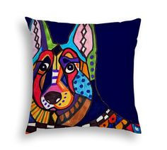 German Shepherd Art Pillow - - Dog Modern Abstract Art by Heather Galler - 5 sizes to choose from