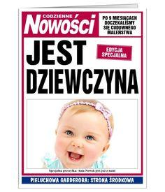 Kartka - pierwsza strona gazety, informująca o narodzinach dziewczynki.