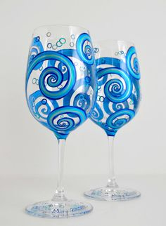 Painted Wine Glasses with Ocean Waves. Toasting Glasses for your wedding by the sea. Hand painted by MaryElizabethArts.com