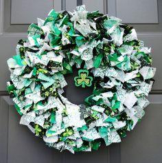 Items similar to Shamrock St. Patrick's Day Fabric Wreath on Etsy Rag Wreaths, Deco Mesh Wreaths, Fabric Wreath, How To Make Wreaths, St Patricks Day, Garland, Seasons, Crafty, Unique Jewelry