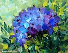 Sun Seeker Blue Hydrangea by Texas Flower Artist Nancy Medina, painting by artist Nancy Medina